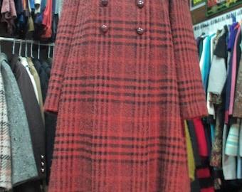 Fine 60s plaid coat/By Stylbert/Rusty coloured/Rear box pleat/Woollen fabric/Haute couture/Size 10/Cappotto a quadri anni 60/Panno/Tg. 46