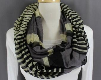 Black Cream Grey stripe striped pattern lightweight gauzy infinity loop cowl long scarf fall autumn gray
