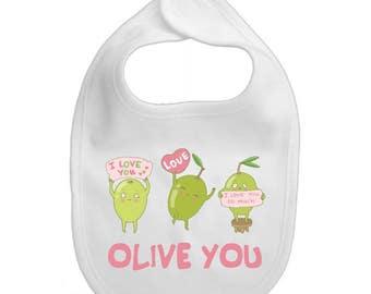 Olive you baby bib, unique baby bib, baby girl bib, baby girl shower gift, newborn baby girl bib, baby girl gift