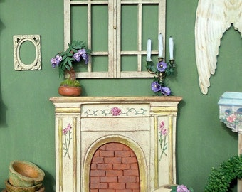 Miniature Dollhouse 1:12 scale brick fireplace
