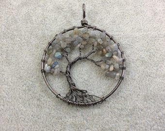 "2"" (50mm) Gunmetal Plated Copper Wire Wrapped Tree of Life Focal Pendant with Labradorite Chip Beads - Sold Individually/Random"