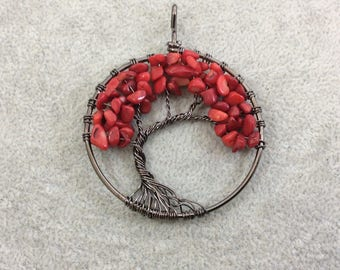 "2"" (50mm) Gunmetal Plated Copper Wire Wrapped Tree of Life Focal Pendant with Dyed Red Coral Chip Beads - Sold Individually/Random"