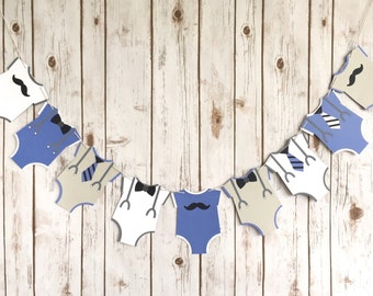 Baby Boy Banner / Onesie Baby Shower Sign / Blue Grey and White / Bowties / Suspenders / Little Man Shower / Welcome Baby Boy / Mustache