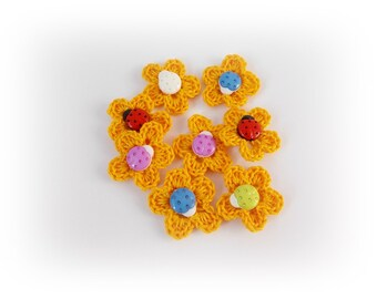 Yellow applique Crochet applique Yellow flowers appliques craft supplies embellishments scrapbooking Flower Applique wedding decorations