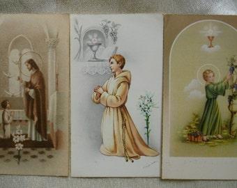 Vintage Communion cards.Ephemera.Communion.1960s.Religious.Catholic.Holy card.Jesus.Saints.Angels.Church.Green.Beige.White.Brown.Grapes.Boy.