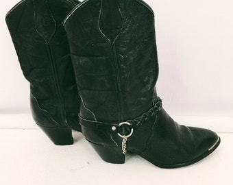 Harness Cowgirl Boots! Women's Vintage Steel Toe Black Leather Cowboy Boots with Braided Harness Detail Size 6