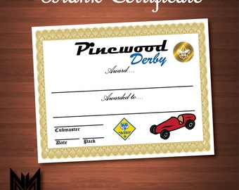 Printable Blank Pinewood Derby Certificate - BSA Cub Scout - Pinewood Derby - Award - Pack Meeting - Instant Download - PDF File