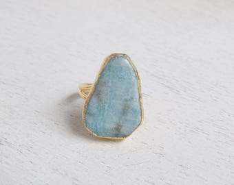Amazonite Ring, Green Ring, Green Stone Ring, Gemstone Ring, Crystal Ring, Large Stone Ring, Statement Ring, Gold Ring, Gift For Her, D2-01