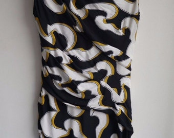 Vintage 90s Diane von Furstenberg Sleeveless Black White Gold Print Gathered Silk Pencil Dress AU8 US4