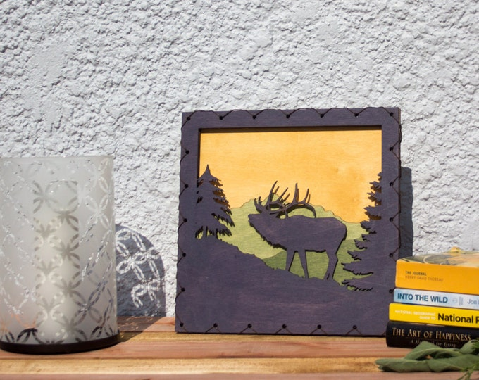 Large: Elk Rustic Styled Wood Wall Art