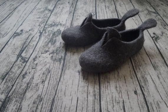 Felt slippers Women Gift Grey yellow Modern Minimalistic Home Shoes