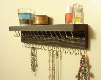 Jewelry Organizer - Jewelry Organization - Necklace Holder - Washed Espresso - 31 Hooks - Top Shelf - Many More Colors - Ready To Hang