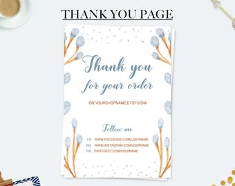 Thank you for your purchase, business card, thank you note card, packaging inserts, thank you for your order, small business, thank you card