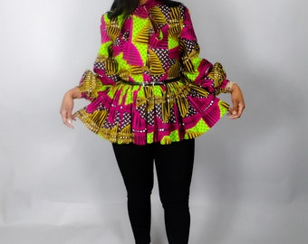 African print peplum dresses