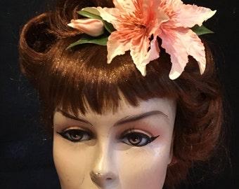 Peach LuLu Clematis Arrangement Hair Flower Clip