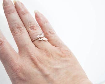 Rose Gold Butterfly Ring, Adjustable