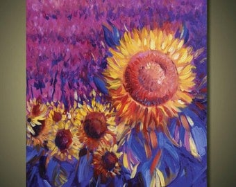 Landscape Painting, Flower field Painting, Large Canvas Art, CanvasPainting, Abstract art,Original Painting, Ready to hang Sunflower field
