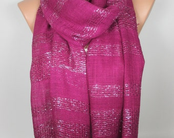 Fuchsia Scarf Sparkle Scarf Shawl Shimmer Cowl Scarf Sparkly Scarf Women Fashion Accessories Christmas Gift Ideas For Her For Mom