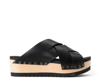 Woven Peep Toe leather wooden clogs, Black color leather, Platform shoes, WAVA, Free Shipping