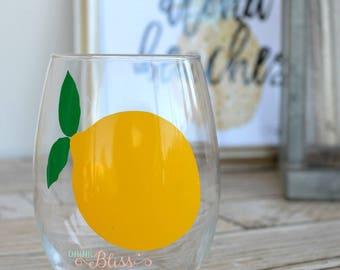 Lemon Wine glass, Stemless wine glass, Lemon cup, Summer wine glass, Stemless summer glass, Fruit wine glass