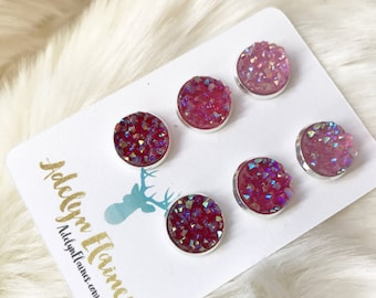 12 mm Funfetti Pink Earring Trio: Light Pink, Dark Pink & Red Druzy Earring Stud // Valentines Day