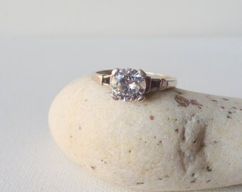 Vintage Sterling Silver Cubic Zirconia Ring, Cocktail Ring, Engagement Ring, Dainty Ring, Size 7 1/2, Zirconia Princess Setting Ring