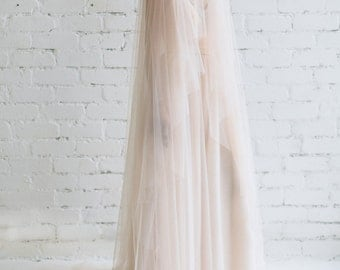Wedding Veil,  Blush Veil, Bridal Veil Chapel Cathedral , Blushing Tulle Veil ,Wide 108'' Veil - Julia