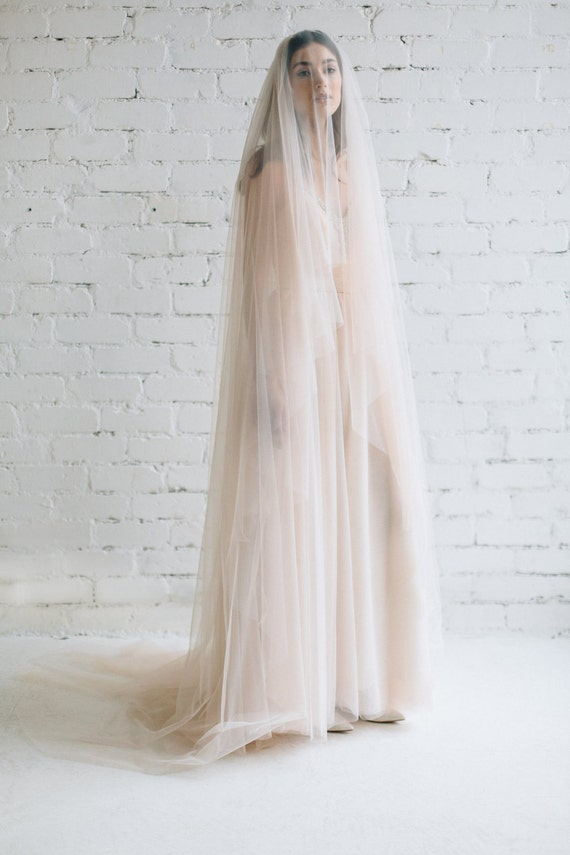Blush Wedding Veil Cathedral Wide Tulle