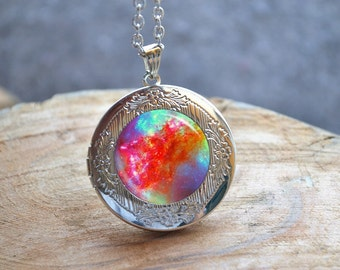 Colorful Galaxy Earrings, Galaxy Locket Necklace, Milky Way Jewelry, Glass Dome Photo Locket Jewelry