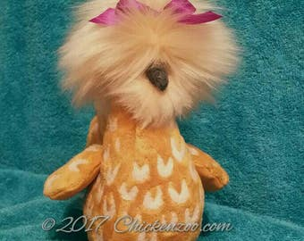 Buff laced Polish, Polish Chicken, Art Doll, Chicken Plush Animal, Stuffed Animal, Chicken Collectible, Chicken Doll