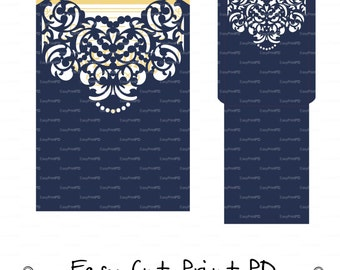 Wedding Envelope Card Template necklace ornamental swirl cutting file C120 (svg, dxf, ai, eps, png, pdf) ornate laser cut arabesque