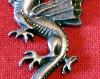 VINTAGE - Pewter Dragon Pendant