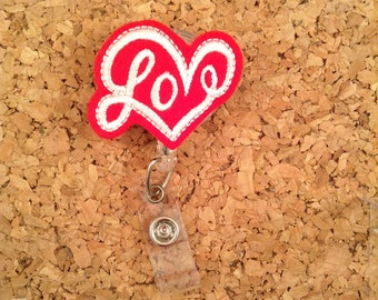 Badge Reel   LOVE Heart Id Badge Reel   Felt Valentine Badge Reel   Retractable Name Holder   Nurse Gift   Teacher Gift   RED 1087