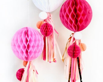 Strawberry Sangria Honeycomb Cluster, Tissue Honeycomb, Paper Pom Pom, Party Decor, Wedding Decor, Baby Shower, Honeycomb Tassel Decor