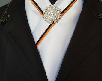 Equestrian Pzazz Stock Tie in Black and Orange
