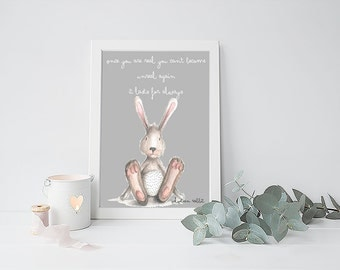 Bunny Nursery Art, Velveteen Rabbit print, Animal prints for nursery, Woodland Nursery Decor, Baby Room Wall Art, Rabbit Print for Nursery