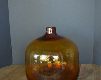 Large1960's Hand Blown Amber Brown Art Glass Vase