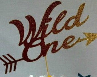 Wild One Cake Topper with Arrow - Tribal party - Aztec - Party Supplies