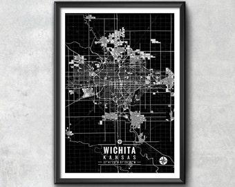 WICHITA Kansas Map with Coordinates, Wichita Wall Art, Wichita Map, Map Art, Map Print, Wichita Print, Wichita Art, Wichita Gift, Map, Art