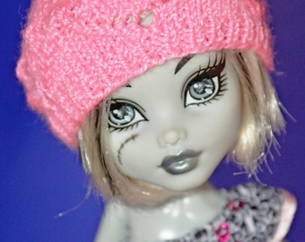 High Fashion Monster Doll Clothes. Knitted Light-Rose Hat. Doll Pink Beret. 5-6 inch head size.