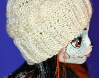 High Fashion Monster Doll Clothes. Knitted Ivory Hat with Cable. Doll Beret. 5-6 inch head size.