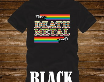 Death Metal Rainbows and Unicorns T-Shirt Adult sizes S-3Xl in many colors-heavy metal rock n roll music funny tough guy deaf racing unicorn