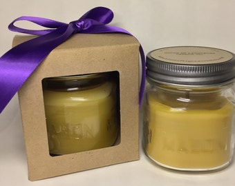 Mason Jar Organic Beeswax Wood Wick Candle