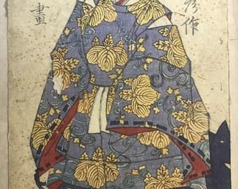 Japanese original Ukiyo-e Woodblock print, Yoshiiku, Edo-period.