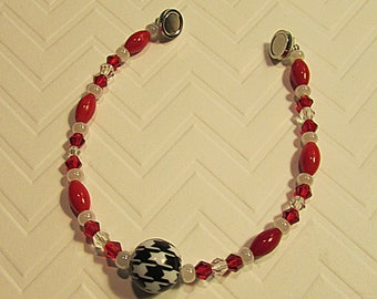 Alabama Roll Tide bracelet-Roll Tide jewelry-football lover jewelry-Alabama Crimson Tide jewelry-Houndstooth jewelry-sports themed jewelry