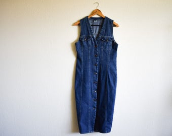 Vintage Denim Dress, 90s Dress Medium, Sleeveless Blue Dress Medium, Button Down Summer Dress 90s Clothing