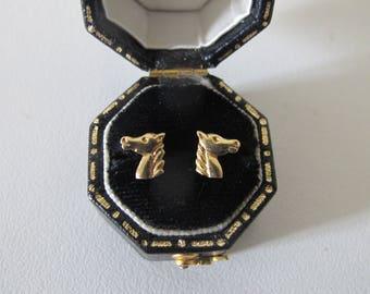 Vintage 18 Kt solid gold Horse head  Stud earrings