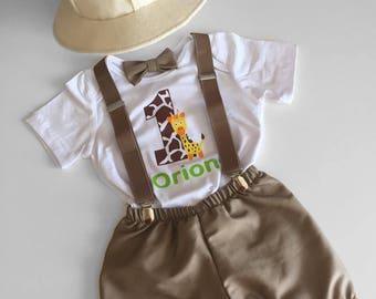 1st Birthday Boy Outfit, Jungle Safari Explorer, Cake Smash Outfit Boy, Personalised Safari Theme, Felt Hat, 1st Birthday Outfit