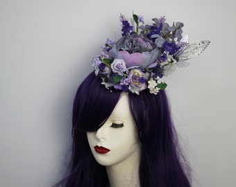 Lilac and Lavender Purple Flowers Fairy Wing/Butterfly Mini Hat/Fascinator/Fairy Headdress