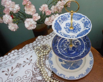 BLUE WILLOW STAND - Cake Stand - Three tier cake stand - vintage stand - mismatched - Afternoon tea - Wedding present - Gift for her
